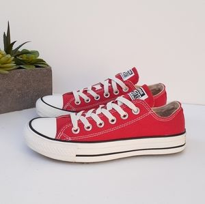 CONVERSE ALL STAR RED LOW TOP LACE UP SNEAKERS